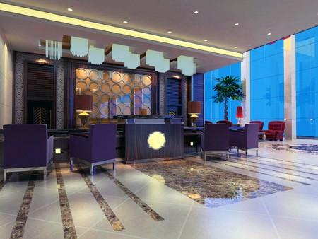 reception hotel: modern design interior of reception hall. 3D render