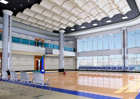 실내 현대 체육관 - basketball.3D 렌더링 스톡 콘텐츠