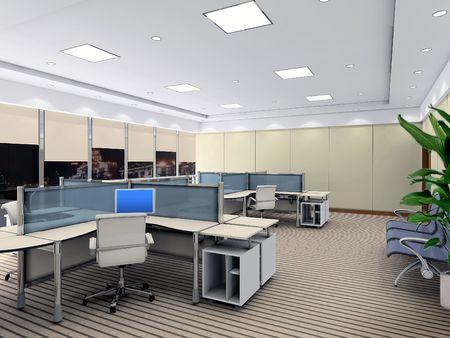 une salle de bureau avec personne. Rendu 3D Banque d'images