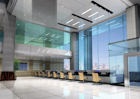 bank office: modern design interior of business hall. 3D render