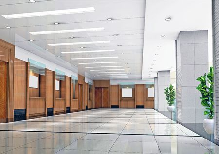 futuristic corridor modern office. 3D render Reklamní fotografie