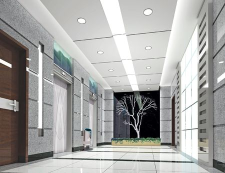 area: modern design interior of elevator lobby. 3D render