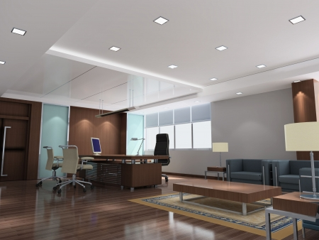 an office room with nobody. 3D render photo
