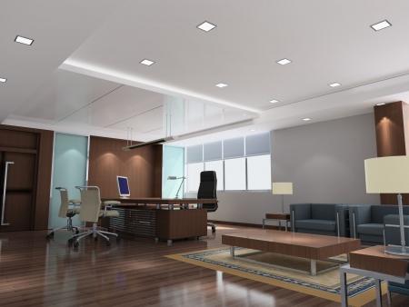 une salle de bureau avec personne. 3D render