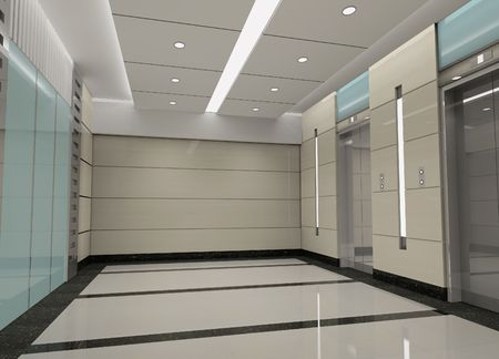 space area: modern design interior of elevator lobby. 3D render