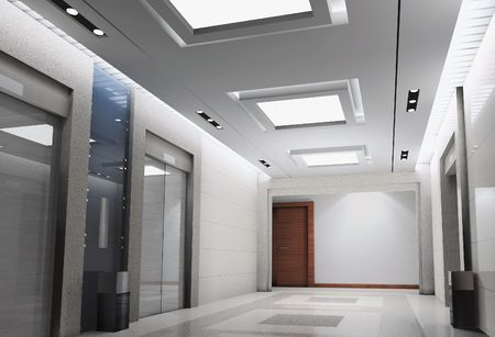 modern design interior of elevator lobby. 3D render