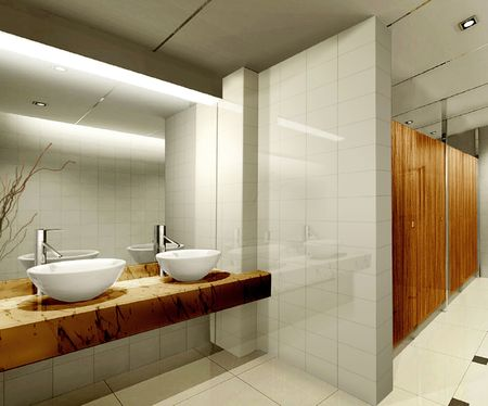 public toilet: modern design interior of stylish bathroom. 3D render Stock Photo