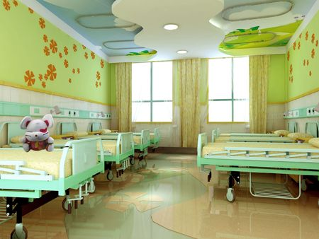 hospital room: hospital children wards. 3D render