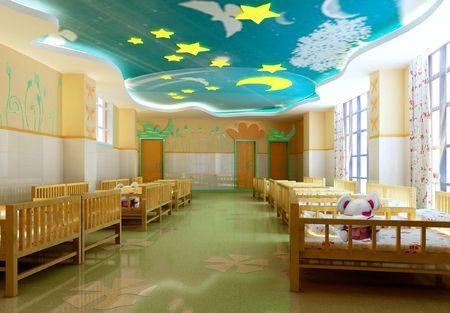 현대 유치원 침실. 3D 렌더링 스톡 콘텐츠