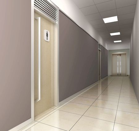 futuristic corridor modern office. 3D render photo