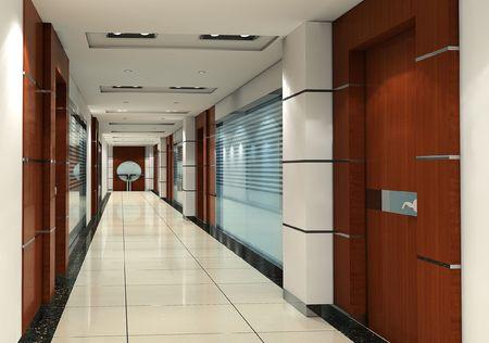 futuristic corridor modern office. 3D render 스톡 콘텐츠