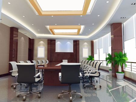 the computer generated 3d image of the modern conference hall