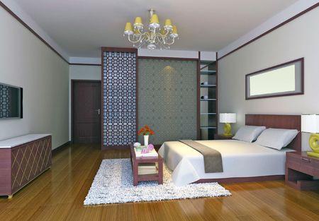 modern design interior of bedroom. 3D render Stock Photo - 5063379