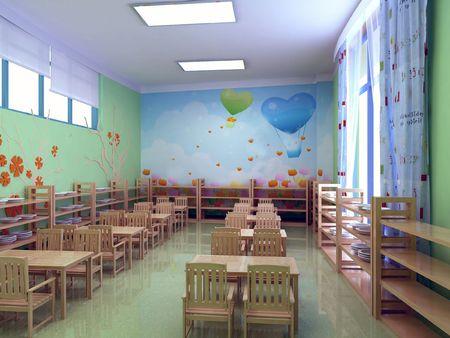 modern kindergarten restaurant. 3D render