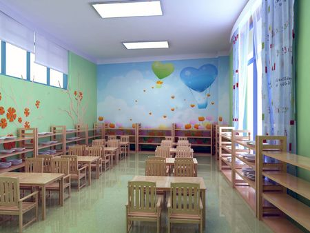restaurant moderne maternelle. 3D render