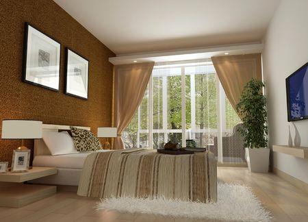 침실의 현대적인 디자인 인테리어입니다. 3D 렌더링