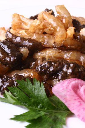 sea slug: china delicious food-- sea slug fried tendon