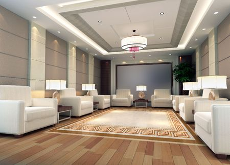 a reception room.3d render Stock Photo