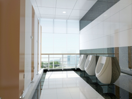 3d public bathroom Stock Photo