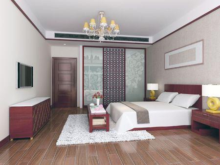 3d bedroom rendering Stock Photo - 6710727