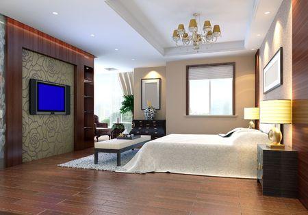 3d bedroom rendering Stock Photo - 6710728