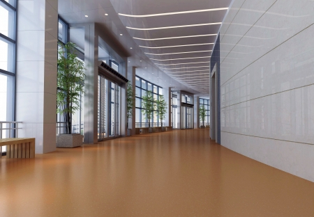 3d futuristic corridor, hall Stock Photo