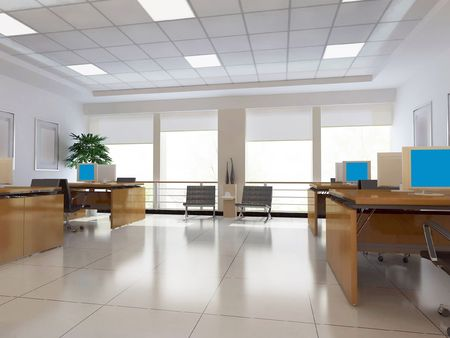floor lamp: an office room with nobody. 3D render