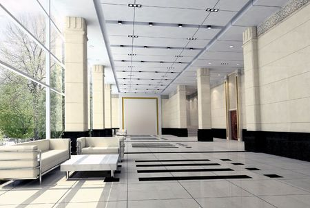 architectural lighting design: modern design interior of hall,corridor. 3D render