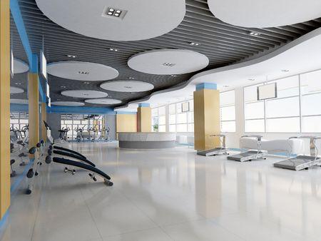 floor machine: Procesamiento de interior gymnasium.3D moderna