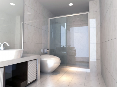 bathroom tile: modern design interior of stylish bathroom. 3D render Stock Photo