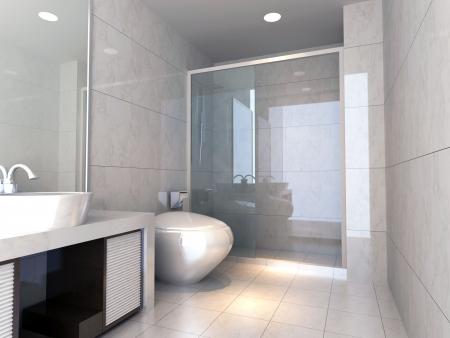 bad fliesen: modernes Design Innenraum des stilvollen Badezimmer. 3D render  Lizenzfreie Bilder