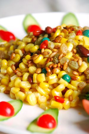 pine nuts: china delicious food-- corn and pine nuts Stock Photo