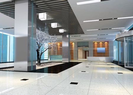 bank office: 3d modern hall,corridor