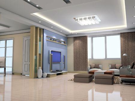 3d 렌더링 현대 인테리어 거실 스톡 콘텐츠 - 6867084