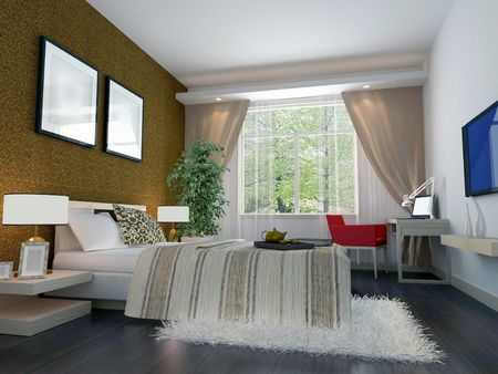 3d bedroom rendering Stock Photo - 6867081