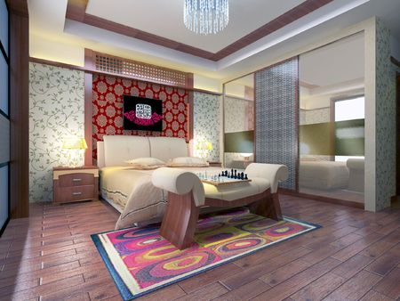 3d bedroom rendering Stock Photo - 6867085