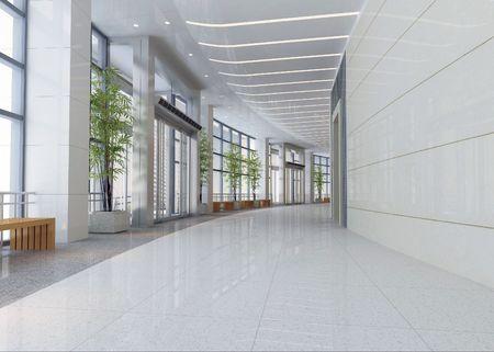3d futuristic corridor, hall Фото со стока