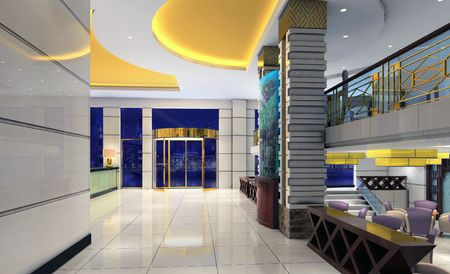 architectural lighting design: 3d modern hall,corridor