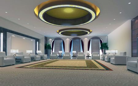 3d reception room rendering Stock Photo