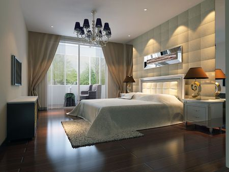 modern design interior of bedroom. 3D render Standard-Bild