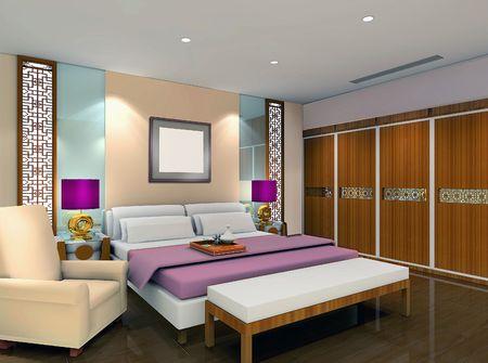 3d bedroom rendering Stock Photo - 6867573