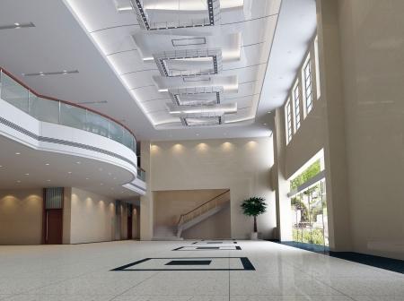 복도, 복도의 현대적인 디자인 인테리어입니다. 3D 렌더링 스톡 콘텐츠