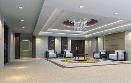 vestibulos: representaci�n 3D de sala de recepci�n. Sala de reuniones