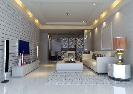 modern design interior of living-room. 3D render Stock Photo