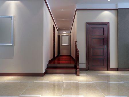 way of living: 3d render modern interior of corridor. living-room Stock Photo