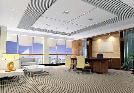 an office room with nobody. 3D render Reklamní fotografie - 6867615