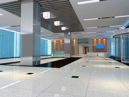 futuristic corridor modern office. 3D render Stock Photo