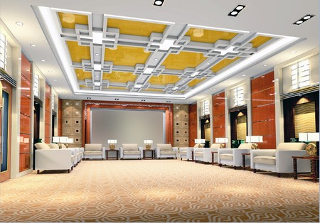 3d reception room rendering Stok Fotoğraf