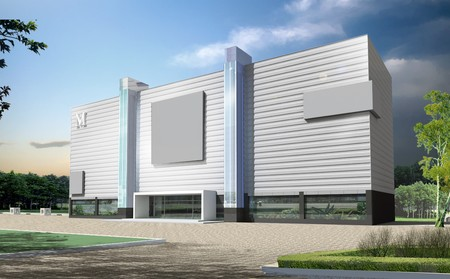 La construction d'immeuble de bureaux en 3D. Concept - ville moderne, architecture moderne et la conception