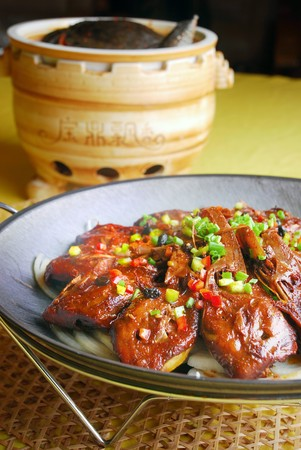 goose head: food in china-soft-shelled turtle and goose head Stock Photo